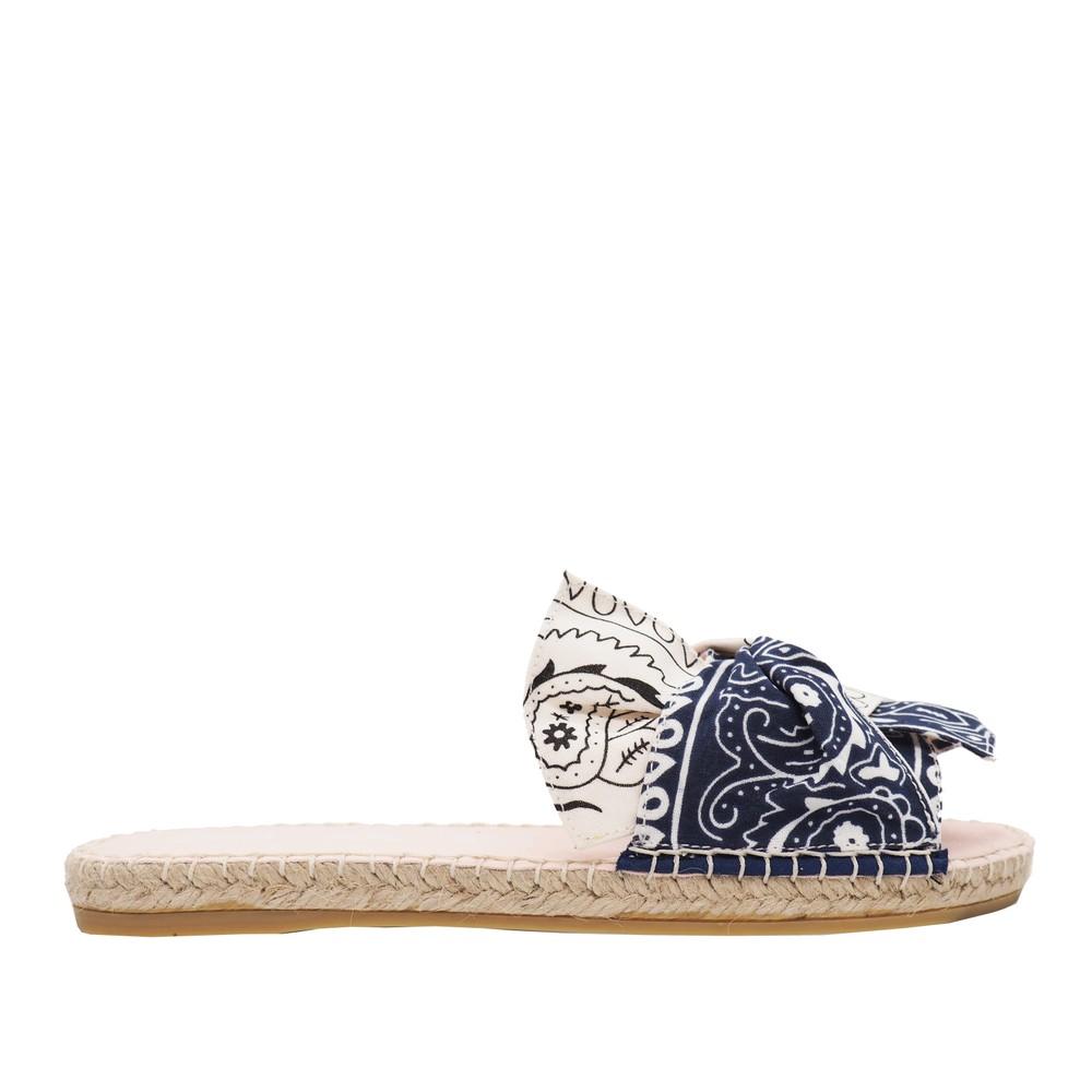 Manebi Flat Valencia Sandals in Bandana Navy & White Navy