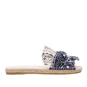 Manebi Flat Valencia Sandals in Bandana Navy & White