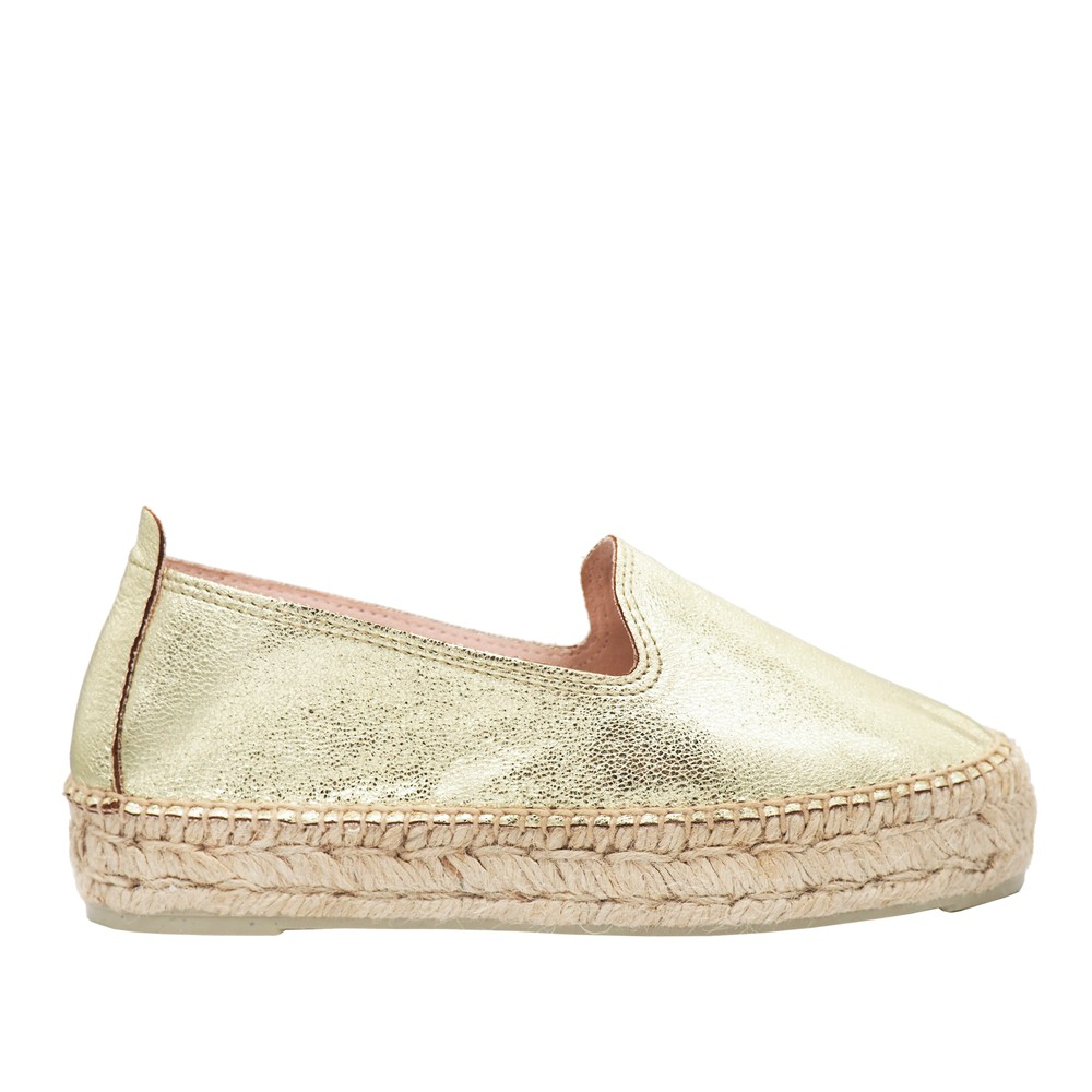 Manebi Hollywood Gold Metallic Espadrilles Gold