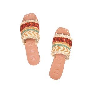 Manebi Yucatan Leather Sandals in Raffia