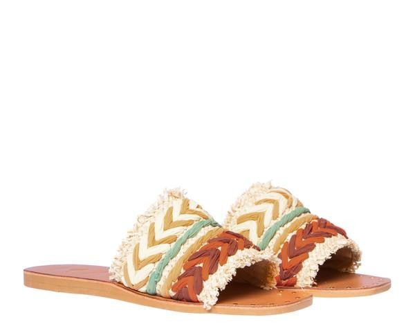 Manebi Yucatan Leather Sandals in Raffia Orange