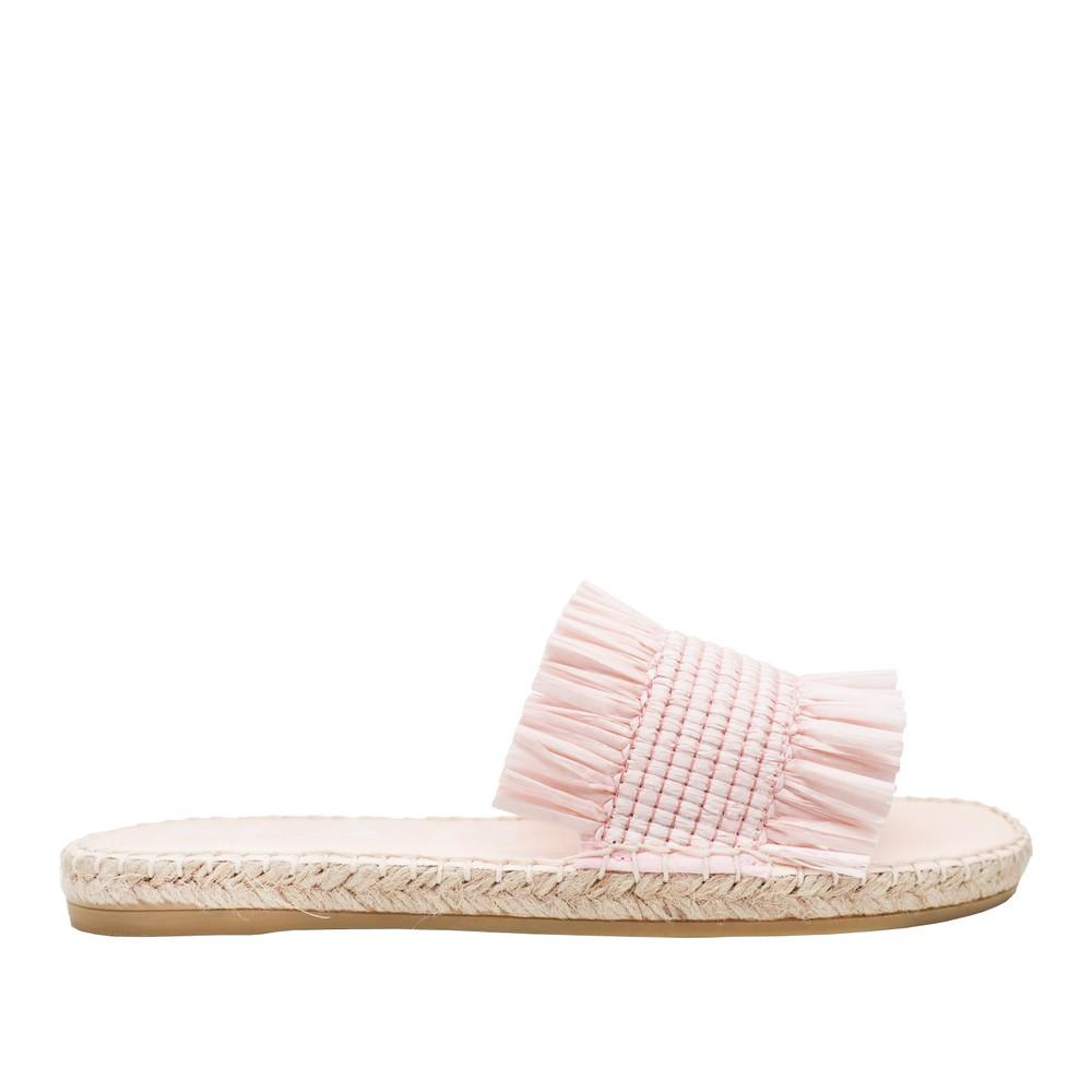 Manebi Capri Raffia Sandals in Rose Pale Pink