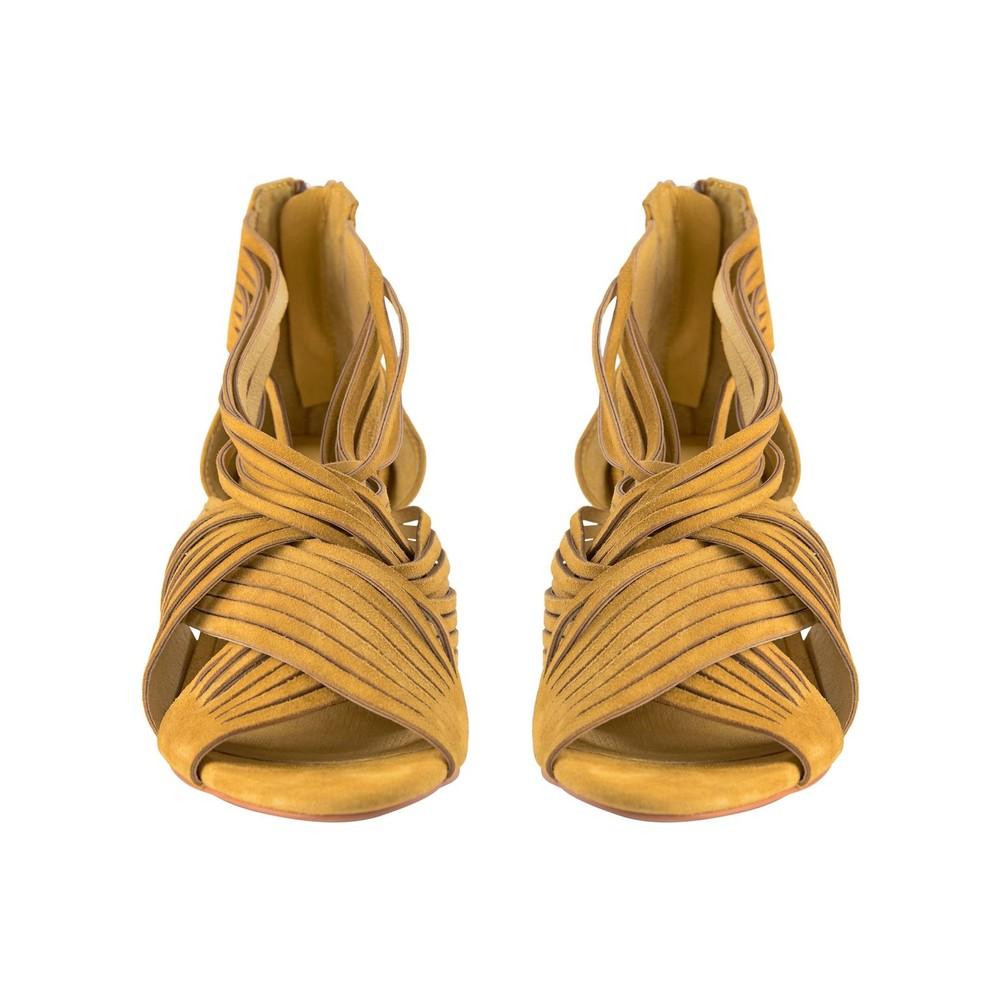 Sofie Schnoor Molly Suede Heels in Gold Yellow