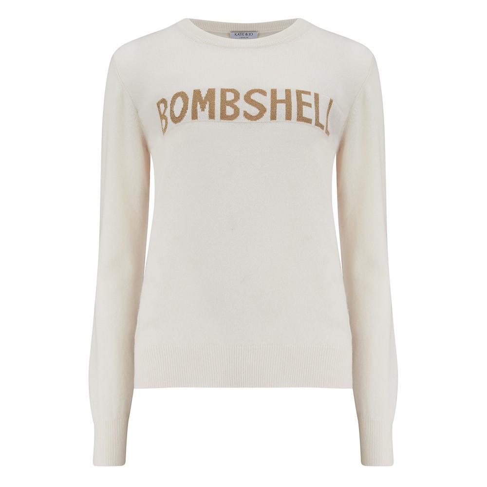 KatieAndJo Bombshell Cashmere Sweater in Ecru and Lurex White