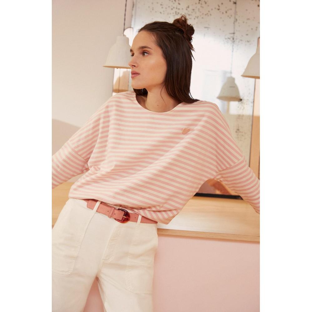 Des Petits Hauts Judi Sweater in Ecru /Pink Pale Pink