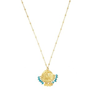 Ashiana Lily Beaded Coin Necklace in Amazonite in Turquoise