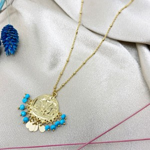 Ashiana Lily Beaded Coin Necklace in Turquoise