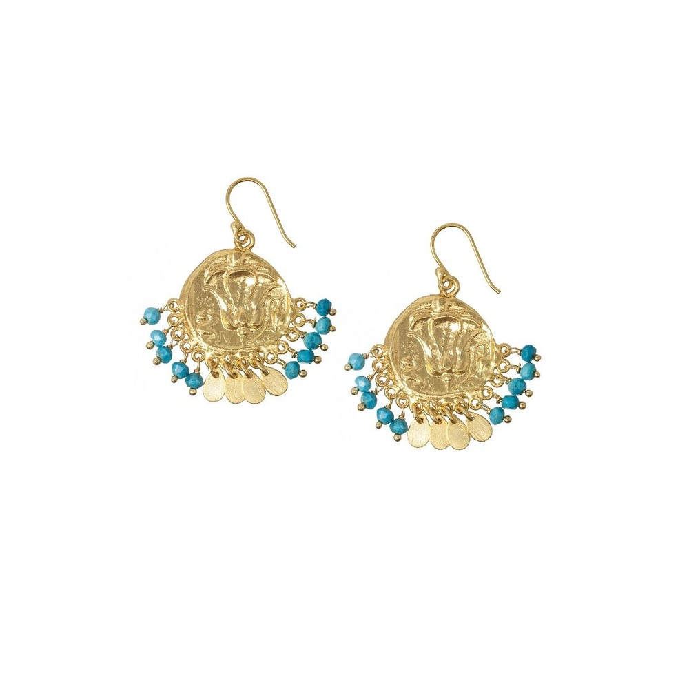 Ashiana Lily Beaded Coin Earrings in Turquoise Turquoise
