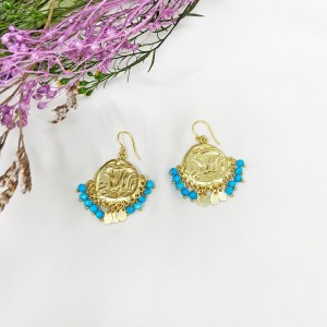 Ashiana Lily Beaded Coin Earrings in Turquoise