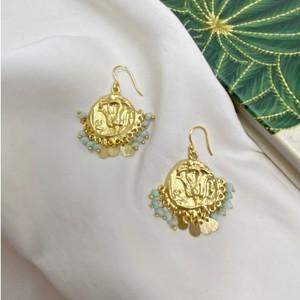 Ashiana Lily Beaded Coin Earrings in Aqua