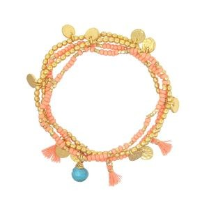 Ashiana Treasure Island Bracelet in Coral Coral