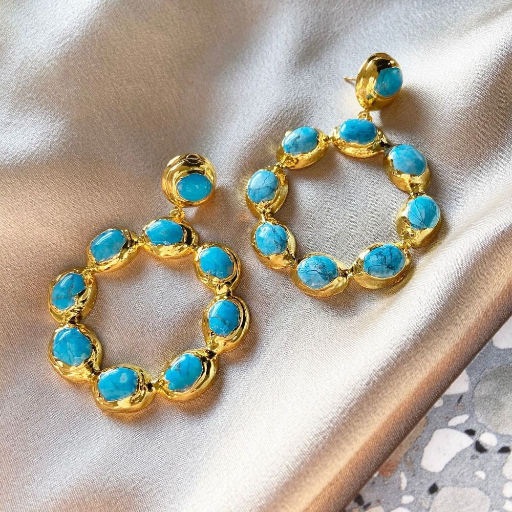 Ashiana Wanda Hoop Earrings in Turquoise Turquoise