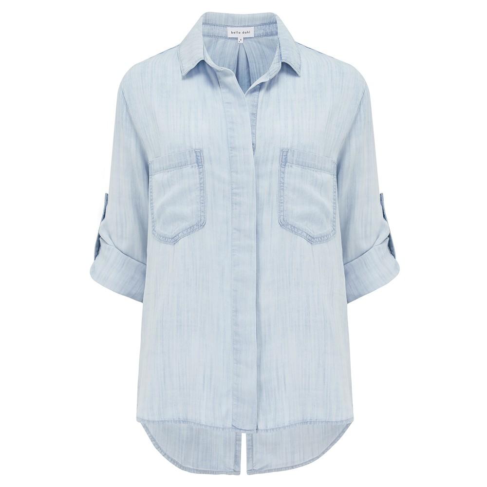 Bella Dahl Split Back Button Down Shirt in Desert Sky Light Denim