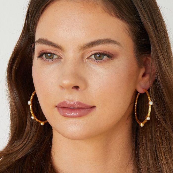 Ashiana Cruise Gemstone Earrings in Pearl White