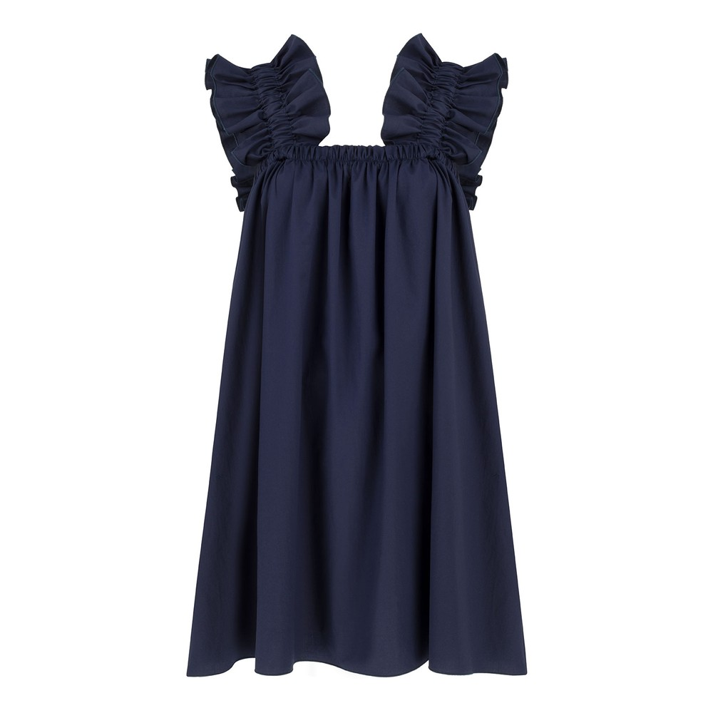 Monica Nera Maya Cotton Dress in Navy Navy