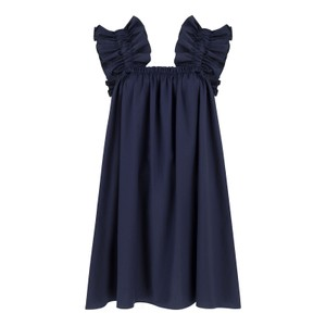 Monica Nera Maya Cotton Dress in Navy