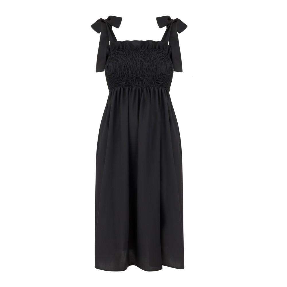 Monica Nera Patti Cotton Dress in Black Black