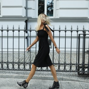 Monica Nera Patti Cotton Dress in Black
