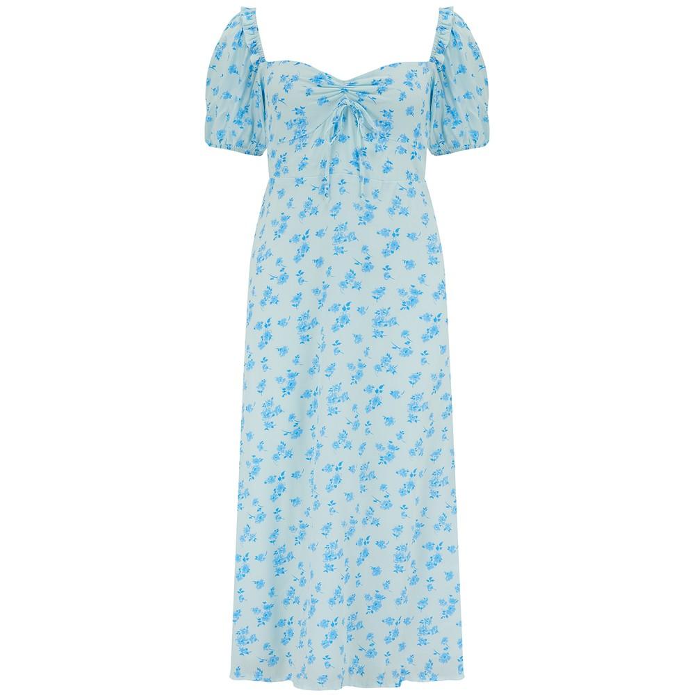 Faithfull The Brand Juniper Midi Dress in Rocha Floral Blue