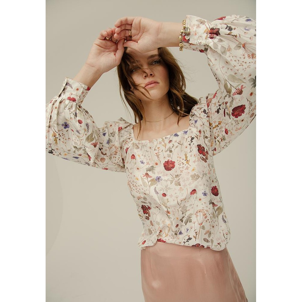 Lily & Lionel Gemma Silk Top in Ivory Pressed Floral White
