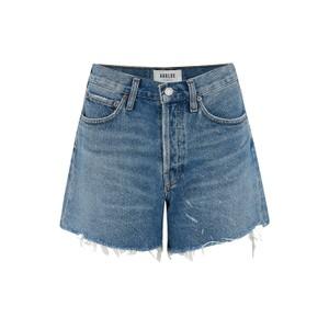 Agolde Parker Long Shorts in Panna Cotta in Light Denim