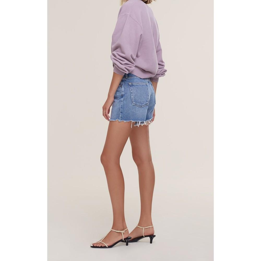 Agolde Parker Long Shorts in Sky Wave Light Denim
