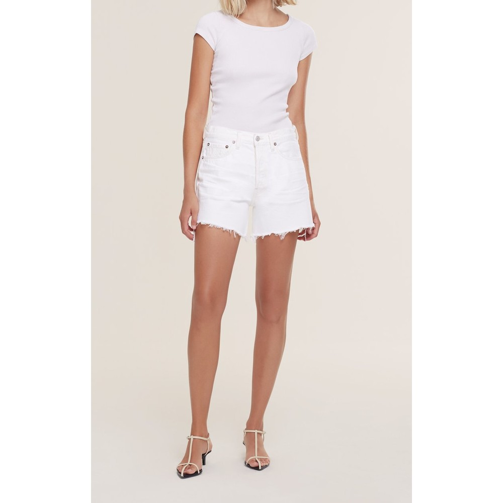 Agolde Parker Long Shorts in Panna Cotta White