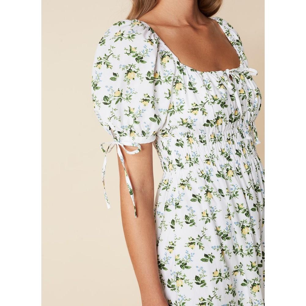Faithfull The Brand Flora Midi Dress in Bendita Floral Print White