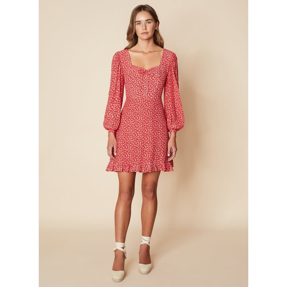 Faithfull The Brand Calla Mini Dress in Maddy Floral Print Red