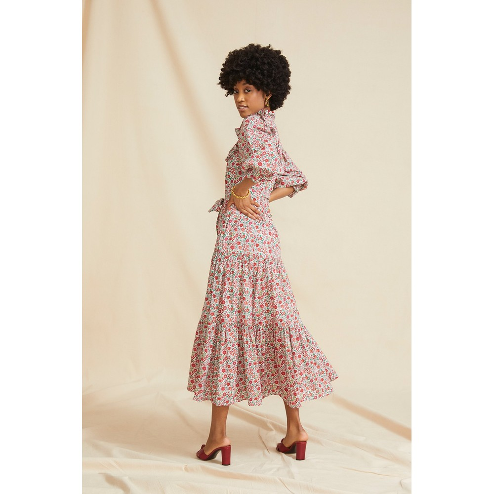 Seraphina Summer Ruffle Dress in Coral Flower Multicoloured