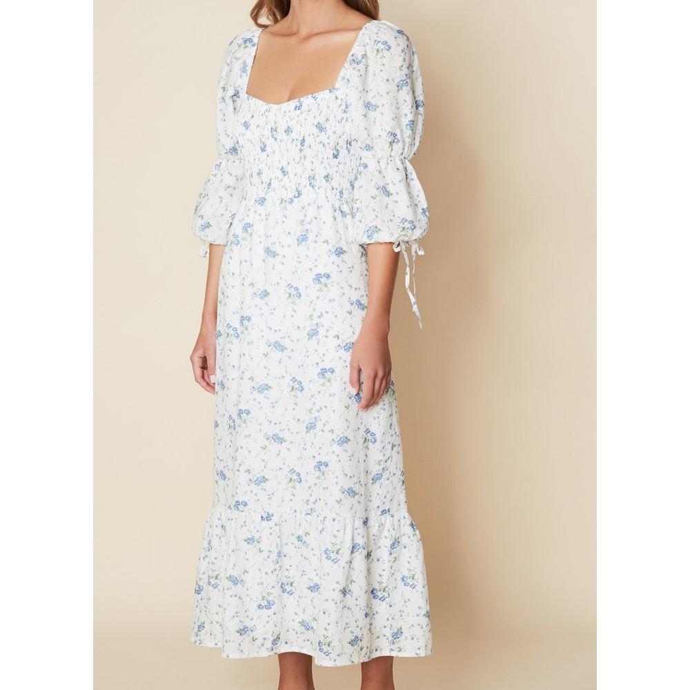 Faithfull The Brand Marita Midi Dress in Astoria Floral Print Blue