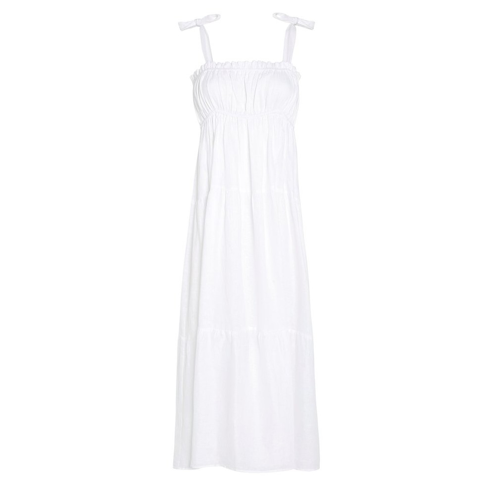 Faithfull The Brand Bellamy Midi Dress in White White