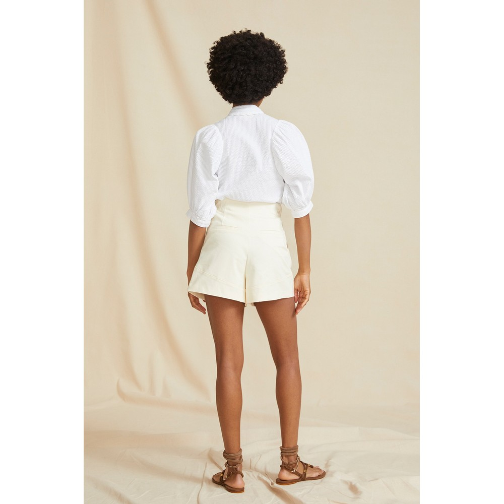 Seraphina Puff Sleeve Blouse in White White