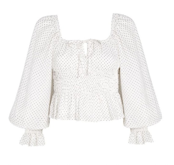 Faithfull The Brand Gillian Top in Sofie Dot Print White
