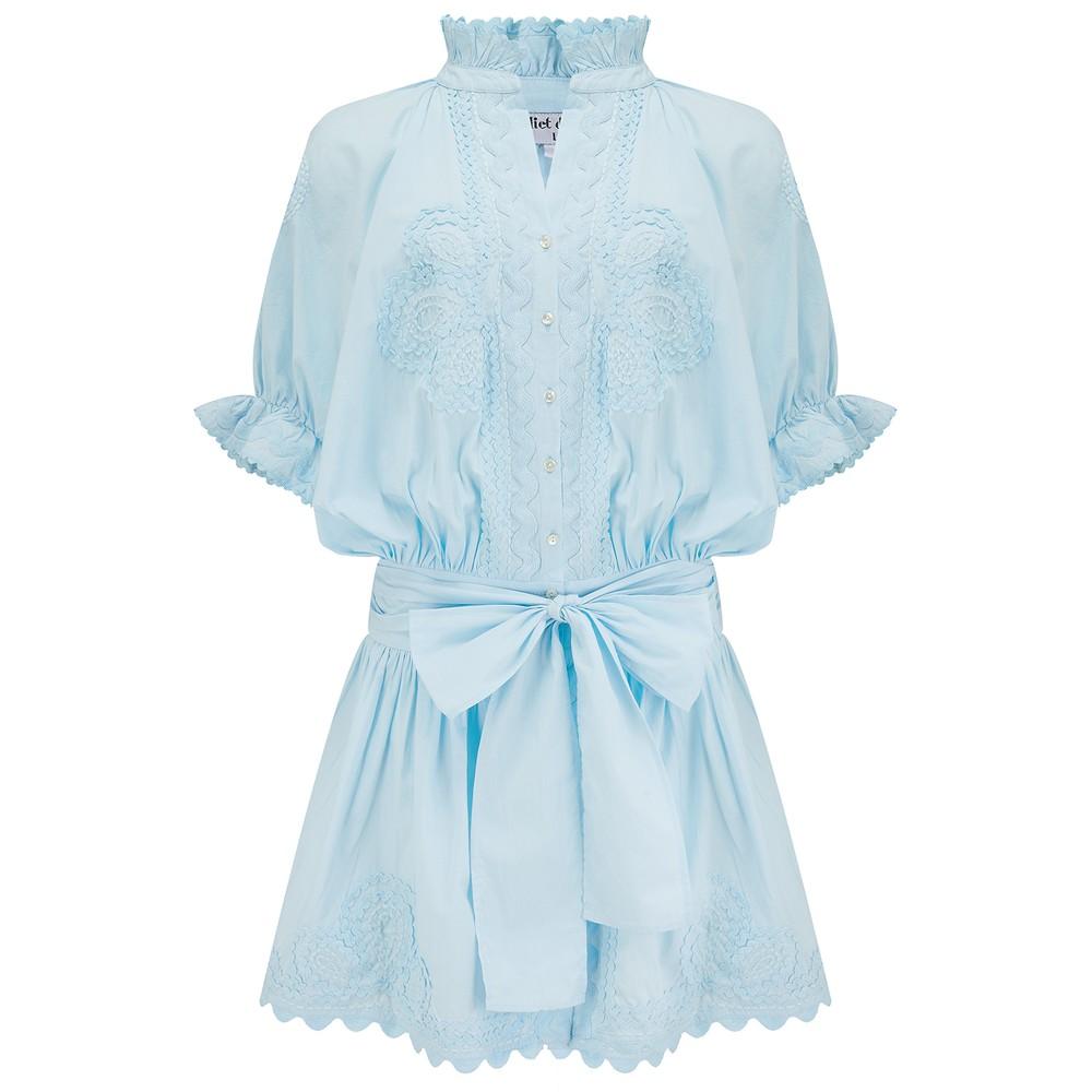 Juliet Dunn Poplin Blouson Dress with Ric Rac Embroidery in Blue Blue