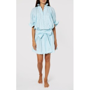 Juliet Dunn Poplin Blouson Dress with Ric Rac Embroidery in Blue