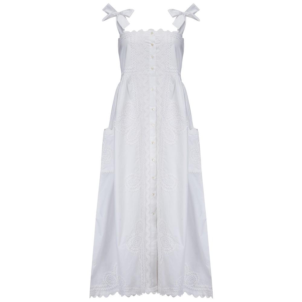 Juliet Dunn Poplin Tie Shoulder Dress White