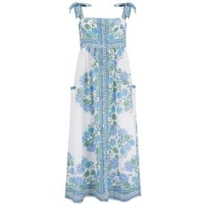 Juliet Dunn Tie Shoulder Dress in Blue Rose Border