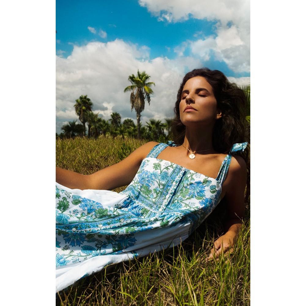 Juliet Dunn Tie Shoulder Dress in Blue Rose Border Blue