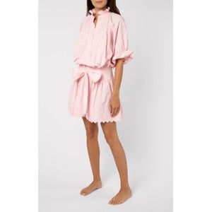 Juliet Dunn Poplin Blouson Dress with Ric Rac Embroidery in Pink