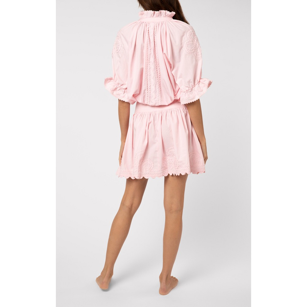 Juliet Dunn Poplin Blouson Dress with Ric Rac Embroidery in Pink Pale Pink