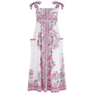 Juliet Dunn Tie Shoulder Dress in Blue Rose Border in Pink