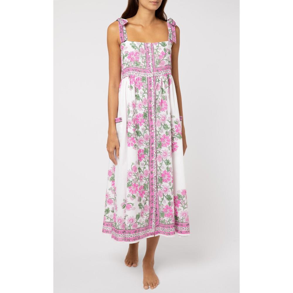 Juliet Dunn Tie Shoulder Dress in Pink Rose Border Pink