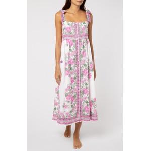 Juliet Dunn Tie Shoulder Dress in Pink Rose Border