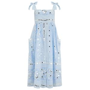 Juliet Dunn Nomad Print Tie Shoulder Dress in Blue