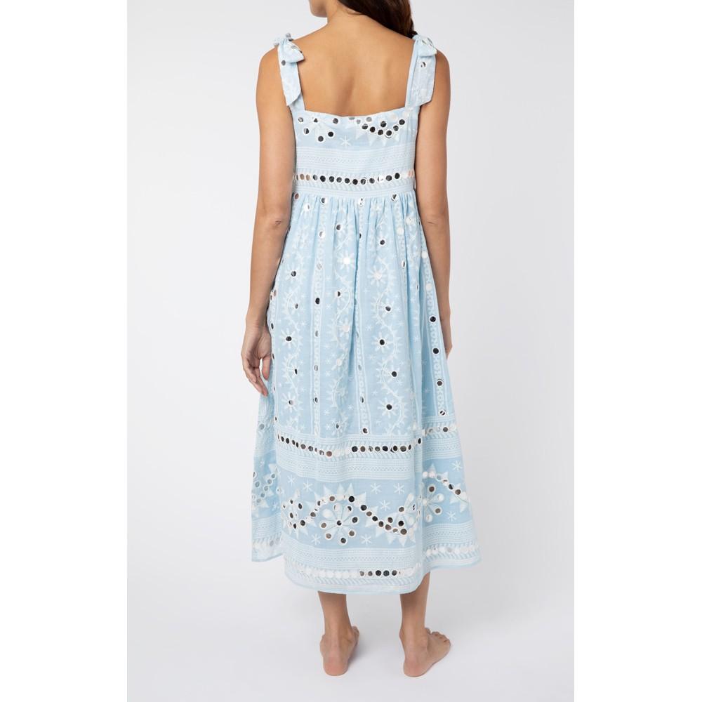Juliet Dunn Nomad Print Tie Shoulder Dress in Blue Blue