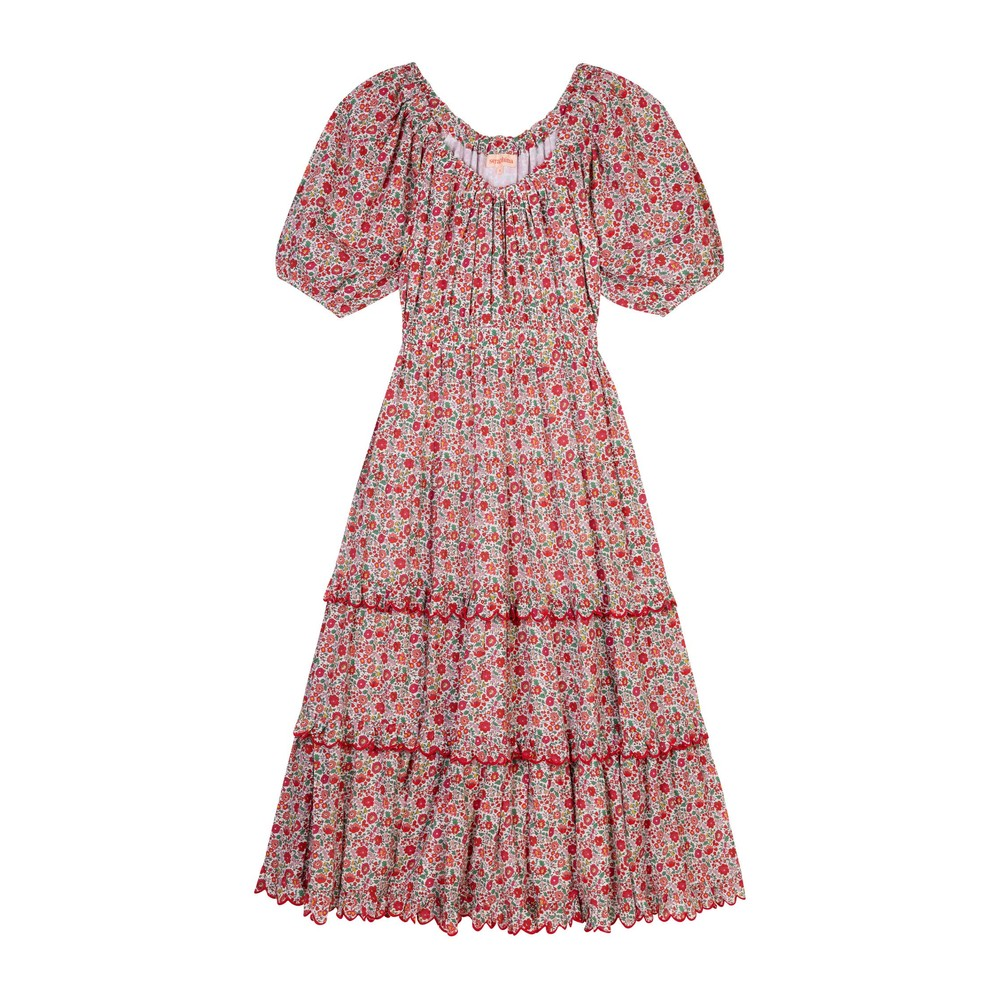 Seraphina The Scallop Midi Dress in Coral Flower Multicoloured