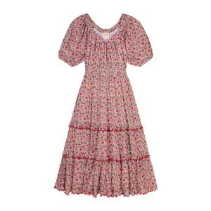 Seraphina The Scallop Midi Dress in Coral Flower