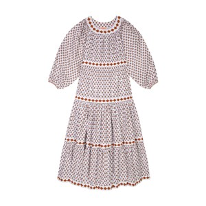 Seraphina The Tiered Dress in Brown Booti Cotton Poplin