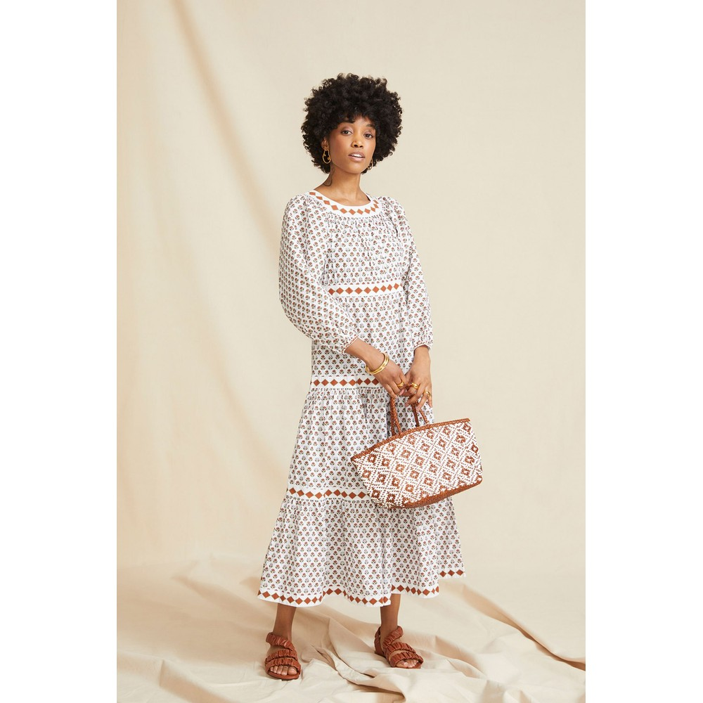 Seraphina The Tiered Dress in Brown Booti Cotton Poplin White